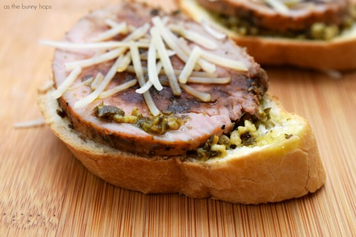 You can make this garlic and herb pork crostini in just a few minutes. It's a perfect appetizer or light entree!