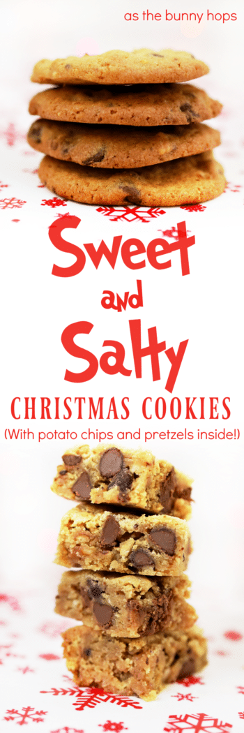 The best of both worlds combines with these Sweet and Salty Christmas Cookies! Yes, there are potato chips and pretzels inside!