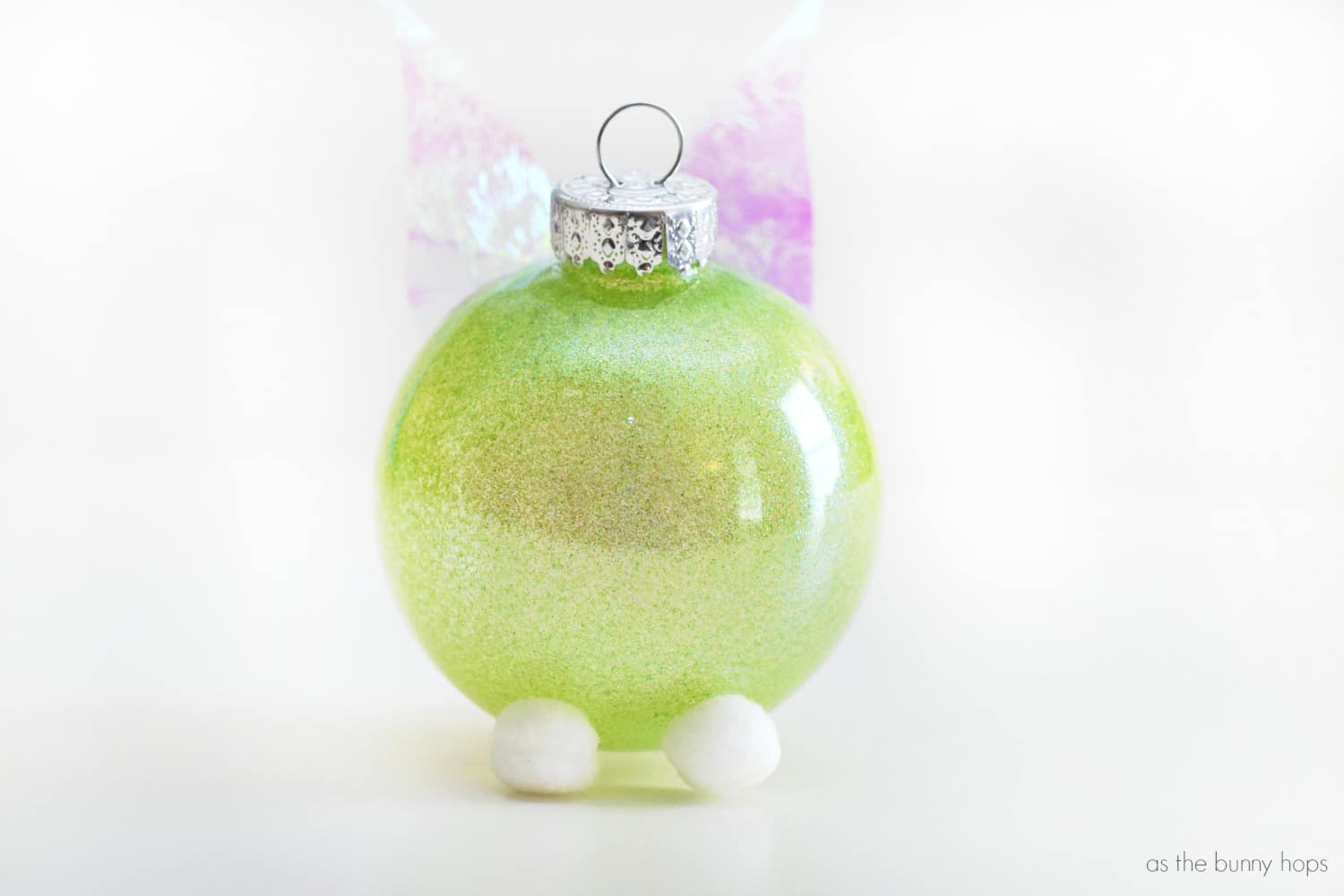 Tinker bell inspired christmas ornament as the bunny hops