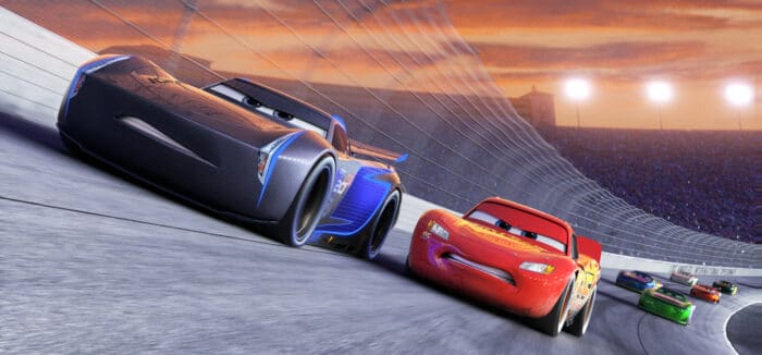 "NEXT-GEN TAKES THE LEAD — Jackson Storm (voice of Armie Hammer), a frontrunner in the next generation of racers, posts speeds that even Lightning McQueen (voice of Owen Wilson) hasn't seen. ""Cars 3"" is in theaters June 16, 2017. ©2016 Disney•Pixar. All Rights Reserved."