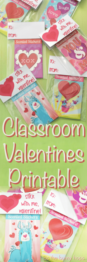 "Make fun classroom Valentines to pass out to your friends with stickers and a free ""stick with me"" printable!"
