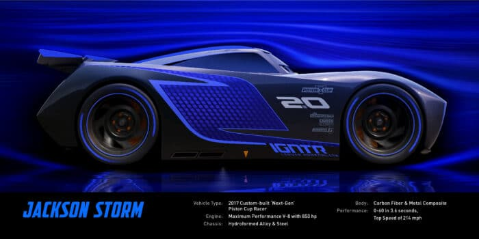 CARS 3 Jackson Storm (voice of Armie Hammer) Jackson Storm is fast, sleek and ready to race. A frontrunner in the next generation of racers, Storm's quiet confidence and cocky demeanor are off-putting—but his unmatched speed threatens to redefine the sport. Trained on high-tech simulators that are programmed to perfect technique and maximize velocity, Jackson Storm is literally built to be unbeatable—and he knows it. ©2016 Disney•Pixar. All Rights Reserved.