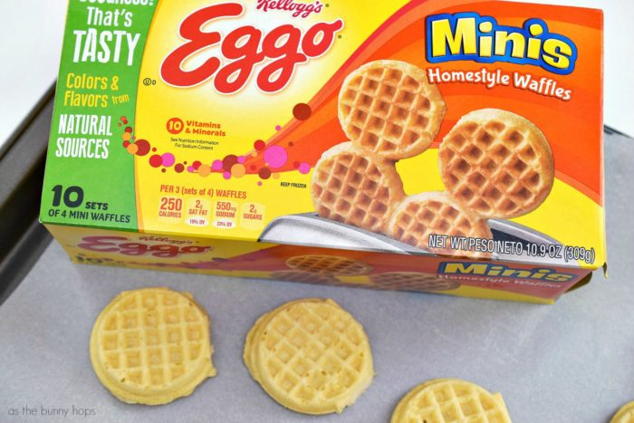 Mini white pizza waffles make an easy and delicious snack! They go from the freezer to your mouth in less than 10 minutes!