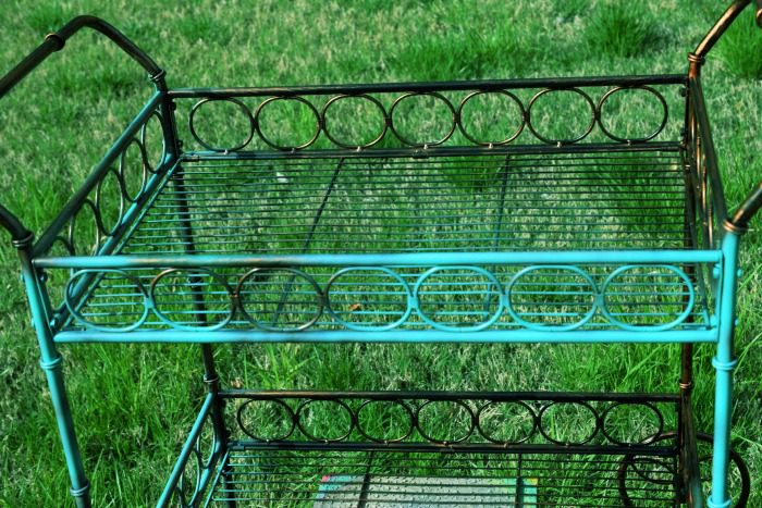 A colorful outdoor bar cart is the perfect addition to your backyard sanctuary!
