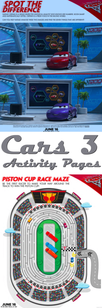 Download these fun, printable Cars 3-inspired activity pages!
