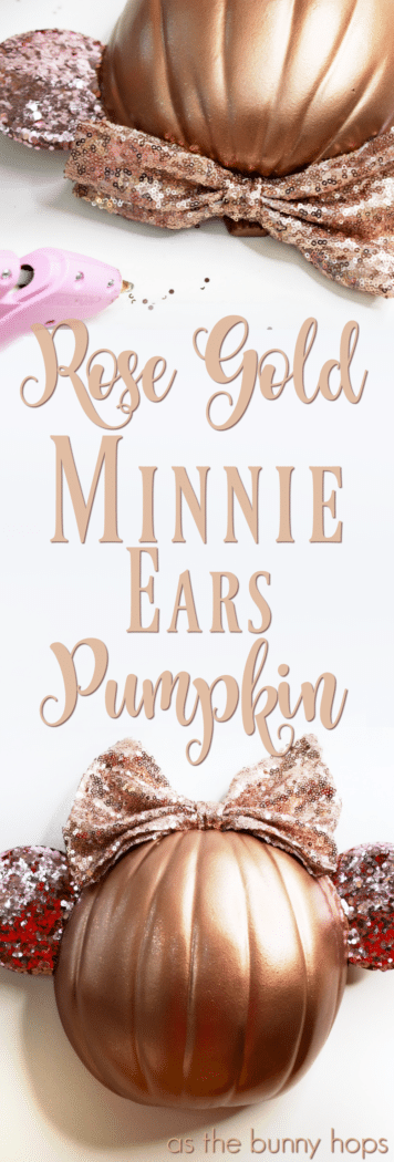 Obsessed with those Rose Gold Minnie Ears everyone's looking for at Disney Parks? If you are, you'll love this DIY Rose Gold Minnie Ears Pumpkin!