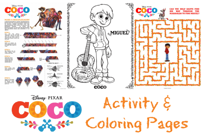 Pixars Coco Activity And Coloring Pages