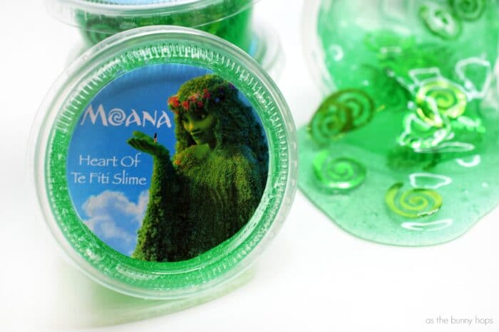Moana-Inspired Heart of Te Fiti Slime Party Favors