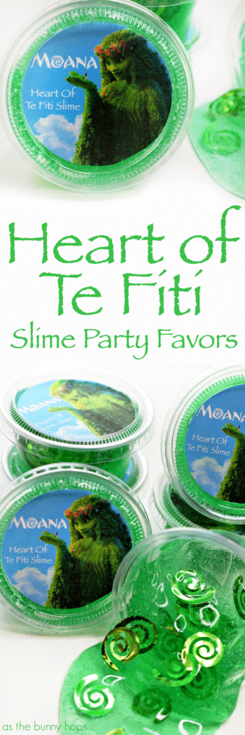 These Heart of Te Fiti Slime Party Favors are perfect for a Moana-inspired birthday party!