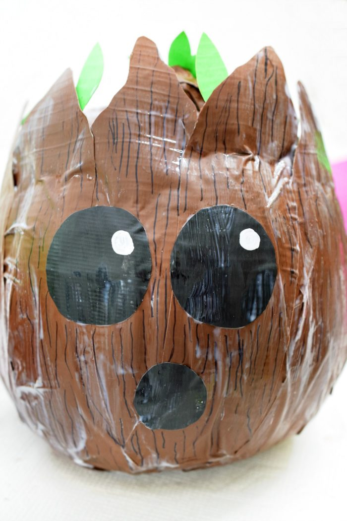 Get ready for Halloween with this DIY Baby Groot Pumpkin. It's made with duct tape!