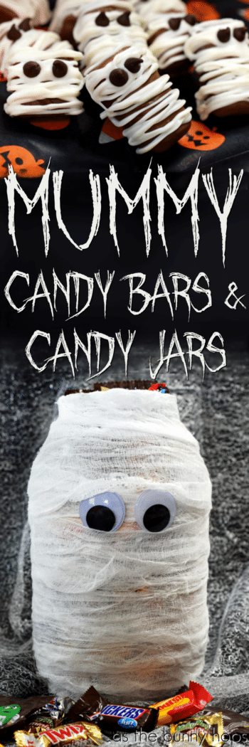 Ready for some quick and easy Halloween-themed DIYs? Try making delicious mummy candy bars and a cute mummy candy jar!