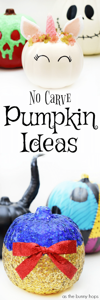Check out the master list of every single no-carve pumpkin idea ever featured on As The Bunny Hops!