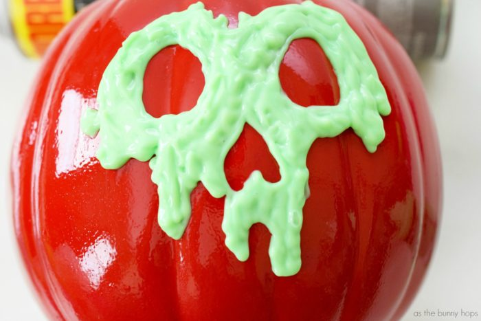You'll be surprised by just how easy it is to make this Glow In The Dark Poison Apple Pumpkin!