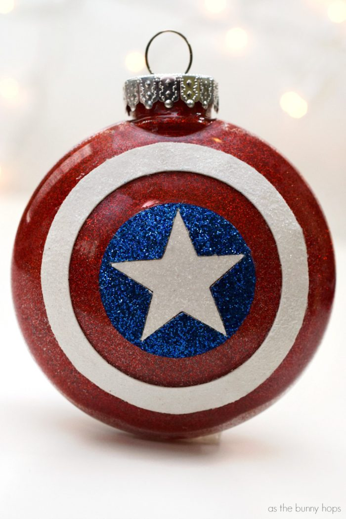 Celebrate the first Avenger when you make your own glittery Captain America Christmas ornament!