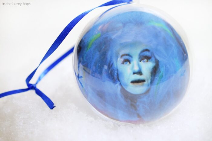 Create an easy Haunted Mansion-inspired Madame Leota ornament for your Christmas tree in just a few minutes!