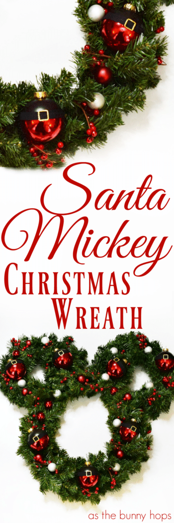 Celebrate the season with a DIY Santa Mickey Christmas Wreath! Customize yours with your favorite colors and embellishments for a completely custom look.