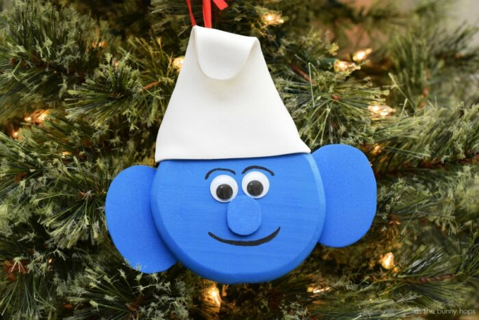 It'll be the Smurfiest holiday ever when you hang this DIY Smurf Christmas  ornament - DIY Smurf Christmas Ornament - As The Bunny Hops®