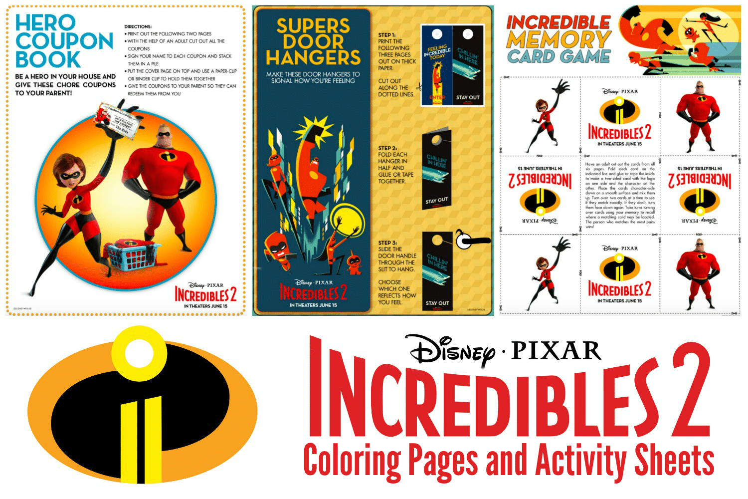 Incredibles 2 Coloring Sheets And Activity Pages