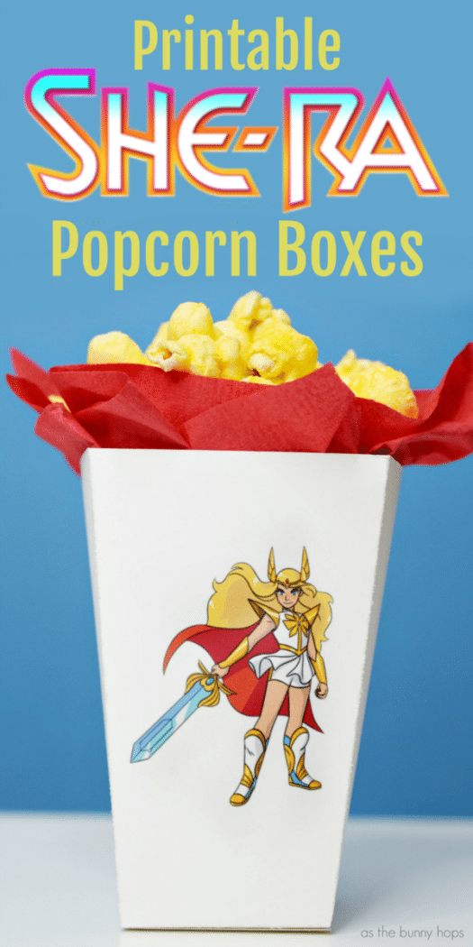 picture relating to Printable Popcorn Boxes named She-Ra Printable Popcorn Box - As The Bunny Hops®